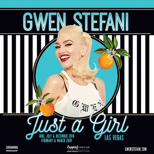 "Gwen Stefani on the Las Vegas Strip with her ""Gwen Stefani – Just a Girl"" December 27 2018 February 11 2019"